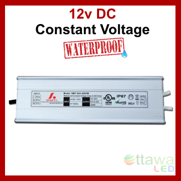 LED Driver Constant Voltage Power Supply 12V 16.5A 200W IP67 UL Listed