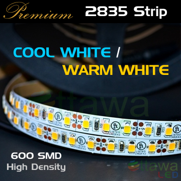 LED Strip Light 2835 600 Warm White, Cool White, cUL Listed - Ottawa LED UL Strips